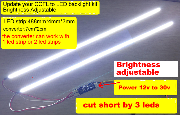 425mm 19inch LED Backlight KIT adjustable brightness update ccfl