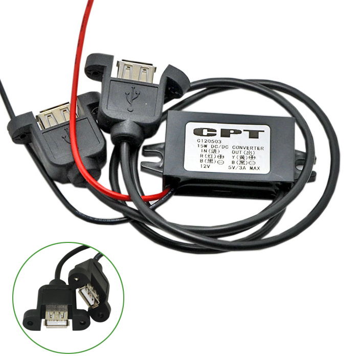 CAR DC/DC CONVERTER 12V to 5V3A double USB-A with screw housing