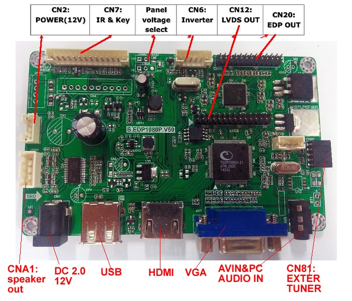 EDP display driver board V59 solution