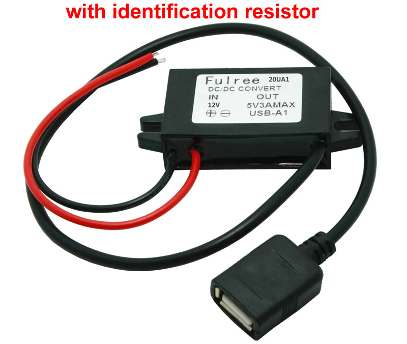 CAR DC/DC CONVERTER 8-22V 12V to 5V 3A USB FEMALE with Identification resistor